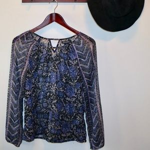Lucky Brand Sheer Blue Floral Blouse